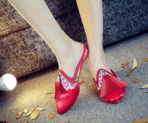 two Nouvelles Houppes Un Vieux Pareilles Cloth Pantoufles De Des Folklorique Style Pantoufles KHSKX Rouges Beijing Forty Pantoufles Chaussures Chinois Vent aH1nwqfO