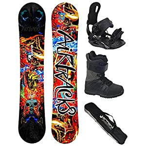 Airtracks Snowboard Set/Board Another World Carbon Wide Hybrid Rocker + Snowboard Bindung Master + Snowboardboots + Sb Bag / 153 160 164 cm