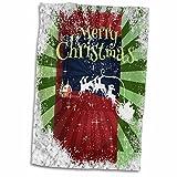 3dRose Père Noël Renne Tirer sur Un traîneau, Flocons de Neige, Abstrait, Rouge, Vert, Serviette de Toilette, Multicolore, 15x 55,9cm