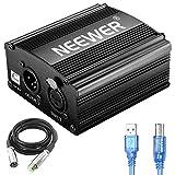 Neewer 1-Canal 48V Fuente de Alimentación Fantasma con 1,5 metros USB Cable, BONUS+XLR 3 Pin Cable de Micrófono para Cualquier Micrófono Equipo Grabación Música