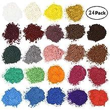 AOND 24er×5g Farbe Set Metallic, Epoxidharz Farbe Seifenfarbe Set Pigment, Mica Powder Pulver für Seifen Epoxidharz Resin, Wasserlöslich, 24 Farben(Gold Grün Lila Rosa Rot Silver Weiß und etc.)