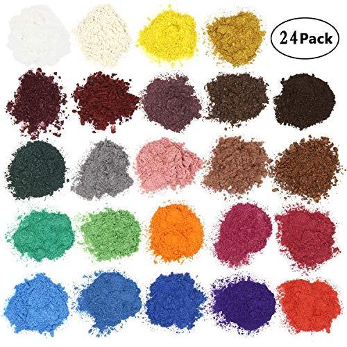 AOND Epoxidharz Farbe Metallic 120g (24er×5g), Seifenfarbe Set, Farbe Pigment Farbpulver Mica Pulver für Seifenherstellung Epoxy Harz Resin, 24 Farben (Gold Weiß Grün Lila Rosa etc.)