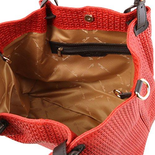Tuscany Leather TL KeyLuck - Sac shopping TL SMART en cuir imprimé tressé - Grand modèle Taupe clair Sacs à bandoulière en cuir Lilas
