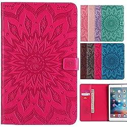 LEMORRY pour Apple iPad 2 / iPad 3 / ipad 4 Etui Cuir Portefeuille Pochette Protecteur Magnétique avec Fente Carte Silicone TPU Housse Cover Coque pour iPad2 iPad3 iPad4, Fleur (Red)