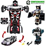 Comtechlogic CM-2200 2.4Ghz Lamborghini Veneno Loader Bulldozer Waste Truck Rc Radio Remote Control Bumblebee Transformers Drifting Car & Robot One Touch Transforming (SILVER)