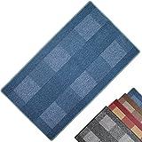 PROHEIM Teppichläufer Dijon - Küchenläufer mit dezent gemustertem Flachgewebe - Teppichbrücke Pflegeleicht und robust - moderner Flurläufer, Farbe:Blau, Größe:67 x 120 cm