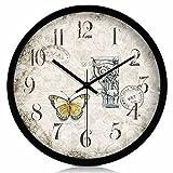 SED Wanduhr Einfache Persönlichkeit Mittelmeer Kreative Wanduhr Stille Quarz Uhr im Wohnzimmer Elektronische Uhr Home Taschenuhr Wand,14 Zoll,Schwarzer Rand