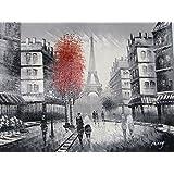 Gran escena de la calle París con la Torre Eiffel, óleo sobre lienzo. Fine Art - Excelente calidad y la artesanía.