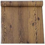 Vinilo autoadhesivo de madera de nogal oscuro rústico para armarios de cocina, encimera, mesa,...