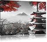 Japanese temple in autumn Black / White, Size: 60x40 on canvas, XXL huge Pictures completely framed with stretcher, art print on mural with frame, cheaper than painting or an oil painting, not a poster or banner,