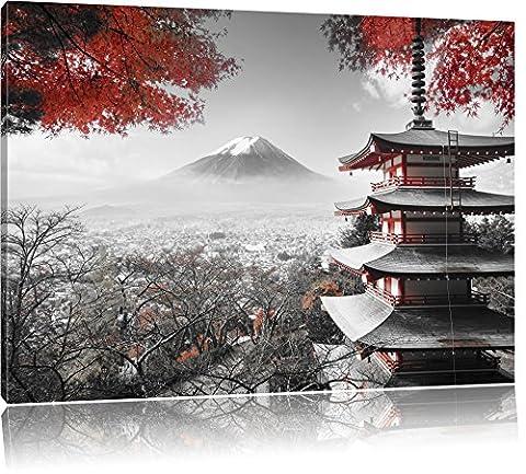 temple japonais à l'automne Noir / Blanc, Taille: 80x60 sur toile, XXL énormes Photos complètement encadrée avec civière, impression d'art sur murale avec cadre, moins cher que la peinture ou une peinture à l'huile, pas une affiche ou une bannière,