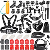 Neewer 62-in-1 Action Camera Accessory Kit for GoPro Hero 4/5 Session, Hero 7 6 5 4 + 3 3 2 1, SJ4000/5000/6000/7000, Nikon, Sony Sports DV in Swimming Rowing Climbing Bike Riding Camping