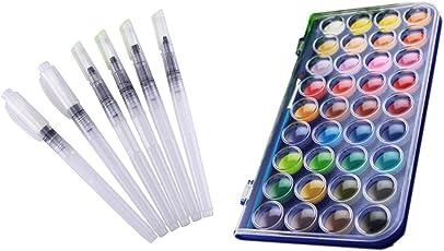 Wasserfarben-Pinselstift-Set, ausgewählte Pinselgrößen, mit 36Wasserfarben, 6-teiliges Set, perfektes Geschenk