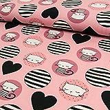 Baumwolljersey Katzen & Herzen rosa - Preis gilt für 0,5