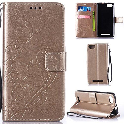 Ooboom® Wiko Lenny 3 Hülle Prägen Schmetterling Blume Flip PU Leder Tasche Case Cover Brieftasche Magnetverschluss für Wiko Lenny 3 - Gold