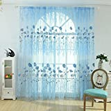 Offset Printing Sheer Curtain Yarn Tulle Window Screen Voile Panel(Blue)