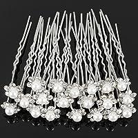 Cdet 20Pcs Bridal Women Hair Clip Diamond Pearl Flower U-Shaped Hair Fork Hair Ornaments Hair Comb Hairpin Girl Headwear Bride Headdress Accessories