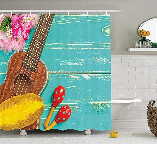CHUNHUA Musik Dekor Duschvorhang Set Ukulele mit Hawaii Style Hintergrund Holz-Klassikerin Urlaub stilisiert Badezimmer-Accessoires Mint Gelb -