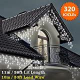 ICICLE Lights 320 LED Bright White Indoor & Outdoor Snowing Christmas Lights Fairy Lights 11m / 36 ft with 10m / 33 ft Lead Wire- Multi-Action – Green Cable