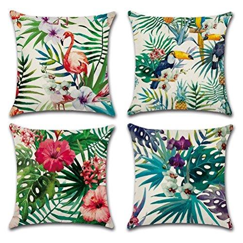 Gspirit 4 Pack Tropical Flamingo Blume Die Blätter Baumwolle Leinen Dekorative Kissen Fall Kissenbezug 45×45 cm, Lustiges Geschenk