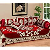 Urban Home 500 TC Velvet Diwan Set Of 8 With 1 Single Bedsheet, 5 Cushion Covers And 2 Boester Covers Red