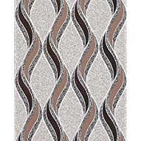 Carta da parati a linee ondulate EDEM 1025-13 sfondo intonaco a mosaico beige marrone cacao marrone scuro argento