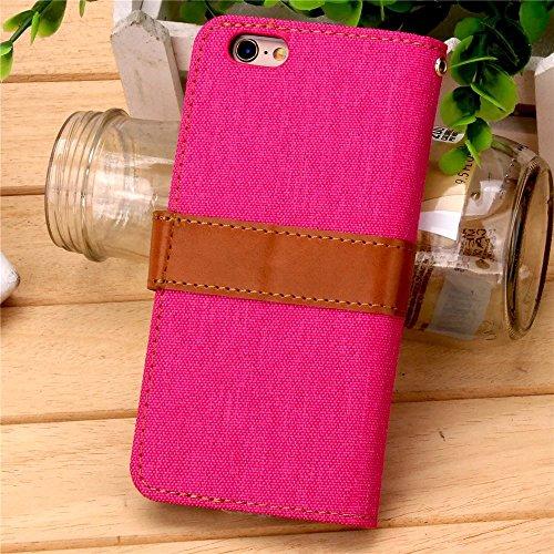 iPhone Case Cover IPhone 6S Cover, Cowboy Jeans Coton Motif Case Loisirs Mode PU Leather Case Wallet Stand Case Couverture Pour IPhone 6S 4.7 Pouces ( Color : Black , Size : IPhone 6s ) Rose