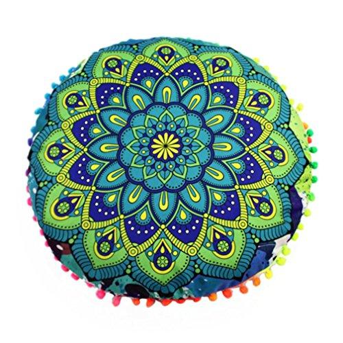 ubabamama New Fashion Rund Kissenbezüge indischen Mandala Boden Kissen rund BOHEMIAN Kissen Kissen Schutzhülle Kissen F (Ernte Neuheit)