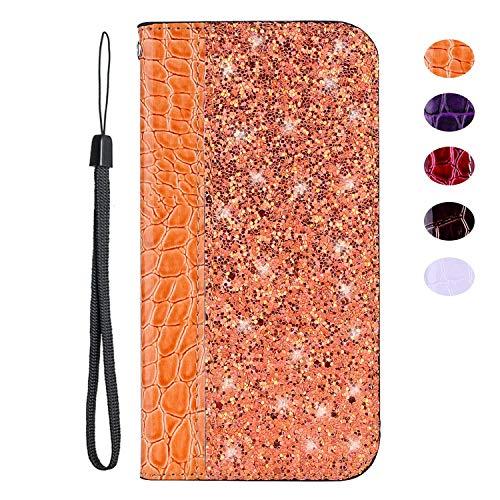vingarshern Hülle für Oukitel C5 Schutzhülle Etui Klappbares Magnetverschluss Flip Case Lederhülle Glitzer Handytasche Oukitel C5 Hülle Leder Tasche MEHRWEG(Orange)