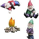 Nain de Jardin, Sculptures et Statues de Jardin Ivre, Kit Nain de Jardin Humour 4 Pièces, Utilisé pour le Jardin Conte de Fée