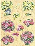 Nr.27 Blume Blumenstrauß 3D Bogen 2 Motive Modell vorgestanzt DIN`A