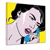 Bilderdepot24 Kunstdruck - Pop-Art Frau mit Telefon - Bild auf Leinwand - 60x60 cm - Leinwandbilder - Bilder als Leinwanddruck - Wandbild Urban & Graphic - Andy Warhol - Retro - Comic
