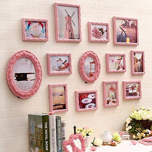 X&L 13 Rahmen Bilder Wand Wohnzimmer solide Holz Foto Wand kreative Kombination Bild Frame Schlafzimmerwand nehmen , pink - 2