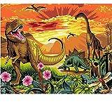 DIY Acrylbild DIY Malen Nach Zahlen Dinosaurier Tiere Moderne Wandkunst Bild Handgemaltes Ölgemälde 40x50cm Gerahmt