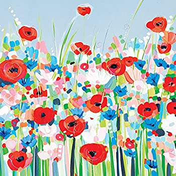 "Multi-colour Cotton 3.20 x 40.00 x Janet Bell /""bright Meadow/"" Canvas Print"