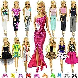 ZITA ELEMENT 20 Pcs Vetements pour Barbie Accesoires - 10 Set Vêtements Robe Barbie 10 Chaussures pour Poupée Barbie Tenues - Style Aléatoire