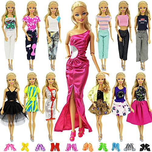 86cff3c3509 ZITA ELEMENT 20 Pcs Vetements pour Barbie Accesoires - 10 Set Vêtements Robe  Barbie 10 Chaussures