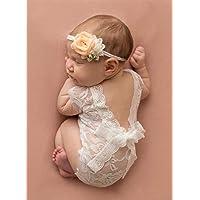 Mummyhug nouveau-né bébé mignon fille photographie Prop gilet Onesie avec Bowknot (Blanc)