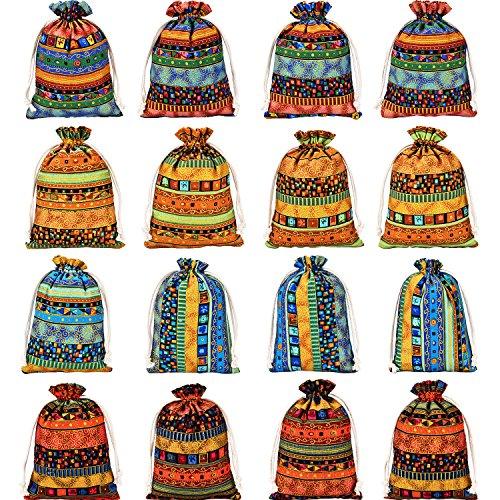 Gejoy 16 Stück Ägyptischen Stil Schmuck Baumwolle Taschen Stoff Aufbewahrungsbeutel Leinen Kordelzug Verpackung Beutel für Lagerung (Ägyptische Baumwolle Spielzeug Tasche)