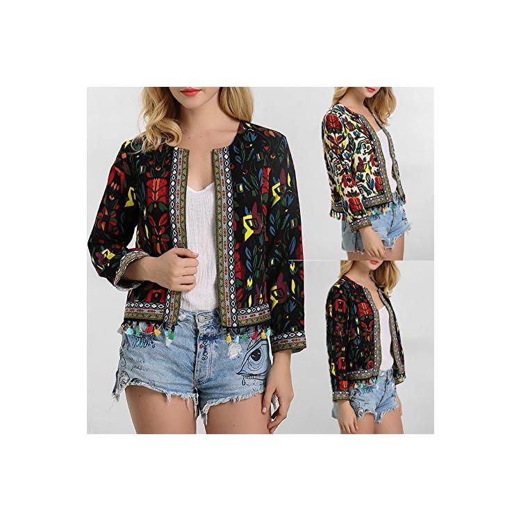 Womens Floral Jacket Zipper Coat Blazer Casual Retro Vest Long Sleeves Outwear