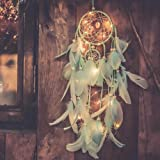 Party Propz Green Feather Made and Handmade Dreamcatchers with Lights for Home,Bedroom Wall Hanging Decoration,Wedding Craft