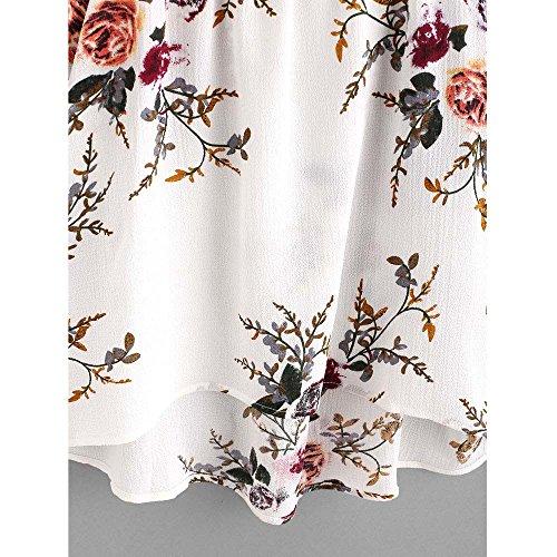 Bonjouree Hauts Dentelle Fleur Femme T-Shirt Manche Courte Ete Épaule Nue Blanc