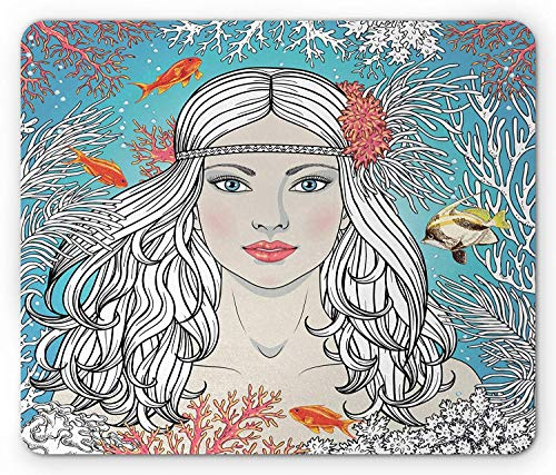 Womens Coral Reef (Curly Hair Mouse Pad, Mermaid Woman Among Coral Reef and Swimming Fish Inspiration Beauty Theme Print, Standard Size Rectangle Non-Slip Rubber Mousepad, Multicolor)