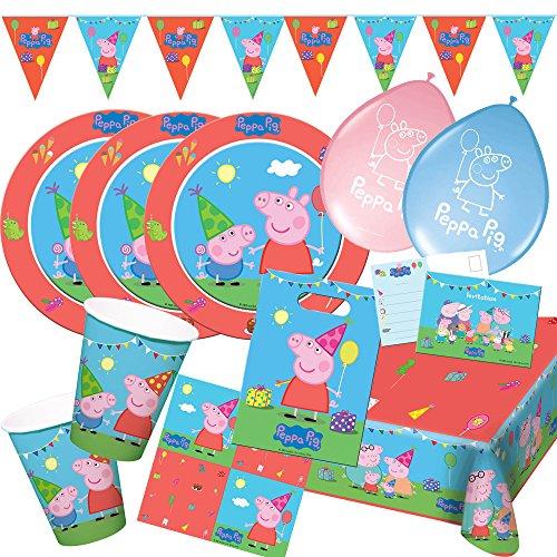 Folat 62-teiliges Party-Set Peppa Wutz - Pig - Teller Becher Servietten Einladungen Wimpelkette Partytüten Luftballons für 8 Kinder