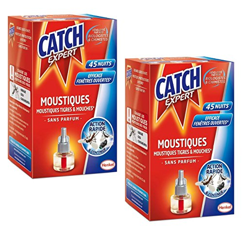 CATCH EXPERT Lot de 2 Recharges x 45 nuits pour Diffuseur Electrique Réglable action simple rapide et efficace recharge contre moustiques moustiques tigres et mouches