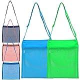 FineGood 5Pezzi Colorati Mesh Beach Bags, Sea Shell Borse con Tracolla Regolabile Cinghie,2,3Piccolo Grande