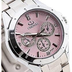 CHENXI Lady Quartz Wrist Watch Wristwatch Round Pink Rhinestone Dial Steel Band