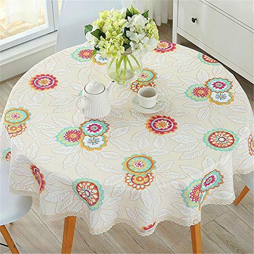 SONGHJ Tischdecke Baumwolle Leinen Esszimmer dekoriert kann die Tischdecke Öl und Wasser Proof B Durchmesser 110cm waschen -