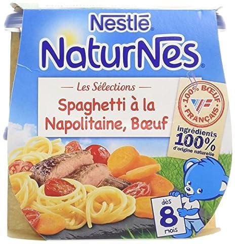 Nestlé Bébé Naturnes les Sélections Spaghetti à la Napolitaine Bœuf - Plat Complet dès 8 Mois - 2 x 200g - Lot de 6