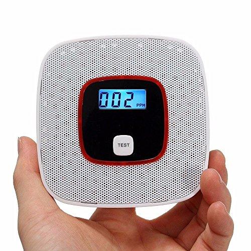 CO Melder Kohlenmonoxidmelder CO-Detektor Batteriebetrieben mit Digitalanzeige gasmelder für den haushalt gaswarngerät 1 Stück, weiß